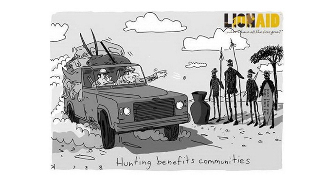 Trophy hunters - Cartoon economics natives poor