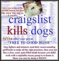 Homeless pets - Craigslist advertise free pets boycott