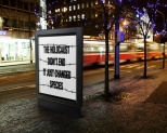 Message - Holocaust billboard street night