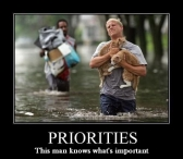 Animal abuse - This man knows his priorities