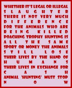 Trophy hunters - Revenge legal or illegal message