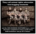 Trophy hunters - Revenge tree huggers call ARAs treehuggers then dress like trees